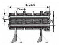 Напольный распределитель на 2 контура, 2300кВт, 100 м3/час, Ду200 м/о расст. 450, Victaulic, в изоляции