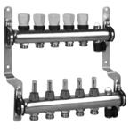 Meibes Коллектор из нержавеющей стали для систем напольного отопления с расходомерами 328мм
